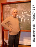 Small photo of London, - United Kingdom, 08, July 2014. Madame Tussauds in London. Waxwork statue of Albert Einstein. He developed the general theory of relativity. Created by Madam Tussauds in 1884