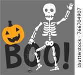 skeleton illustration with... | Shutterstock .eps vector #766704907