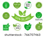 set of vegan  organic  healthy... | Shutterstock .eps vector #766707463