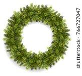 christmas wreath isolated on... | Shutterstock .eps vector #766727047