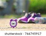 alarm clock and sport stuff on...   Shutterstock . vector #766745917