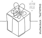 gift one line  without lifting... | Shutterstock .eps vector #766749943