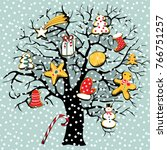 tree with christmas cookies.... | Shutterstock .eps vector #766751257
