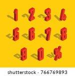 3d red metallic isometric... | Shutterstock .eps vector #766769893