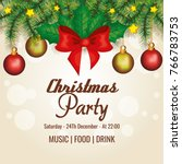 invitation to christmas party | Shutterstock .eps vector #766783753