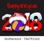 snowy new year numbers 2018 and ... | Shutterstock .eps vector #766791163