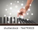 stopping domino concept  ... | Shutterstock . vector #766793023