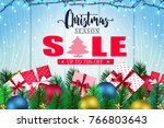 christmas season sale banner in ... | Shutterstock .eps vector #766803643