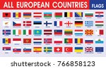 europe's countries flags  | Shutterstock .eps vector #766858123