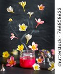 red scented candle with smoke... | Shutterstock . vector #766858633