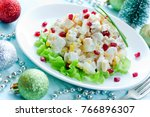 delicious chicken salad with... | Shutterstock . vector #766896307