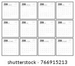 2018 calendar planner design. | Shutterstock .eps vector #766915213