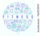 fitness concept in circle with... | Shutterstock .eps vector #766925947
