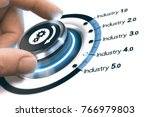 hand turning a knob with gears... | Shutterstock . vector #766979803