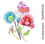 spring flowers watercolor... | Shutterstock . vector #766985233