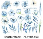 watercolor blue flowers and... | Shutterstock . vector #766986553