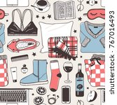 hand drawn fashion illustration.... | Shutterstock .eps vector #767016493