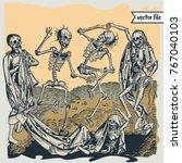 medieval woodcut illustrations... | Shutterstock .eps vector #767040103