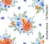watercolor floral seamless... | Shutterstock . vector #767062567