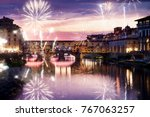 celebrating new year's eve in... | Shutterstock . vector #767063257