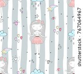 cute hand drawn with cute... | Shutterstock .eps vector #767064967