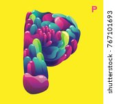 letter p with curvy style.... | Shutterstock .eps vector #767101693