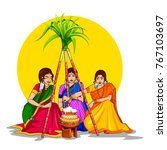 illustration of happy pongal... | Shutterstock .eps vector #767103697