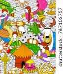 illustration of happy pongal... | Shutterstock .eps vector #767103757
