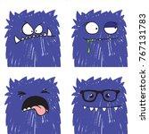 set of four vector funny crazy... | Shutterstock .eps vector #767131783