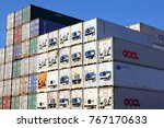 Small photo of HAMBURG, GERMANY - OCTOBER 1, 2017: Plenty of refrigerated shipping containers stacked at the Port of Hamburg