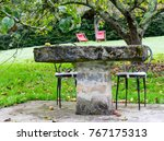 stone table with chairs and... | Shutterstock . vector #767175313