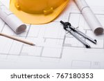 high angle view of tools with... | Shutterstock . vector #767180353