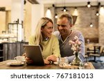 couple discussing something on... | Shutterstock . vector #767181013