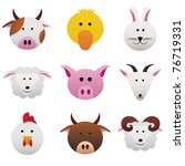 Farm Animals Collection color icons featuring funny farm animals - stock vector