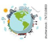 eco green planet flat design... | Shutterstock .eps vector #767210803