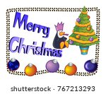 merry christmas illustration... | Shutterstock . vector #767213293