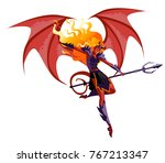 winged hell woman demoness with ... | Shutterstock .eps vector #767213347