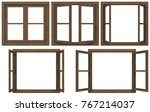 wooden window frame isolated on ... | Shutterstock . vector #767214037