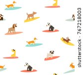 dog surfers pattern  vector... | Shutterstock .eps vector #767218003