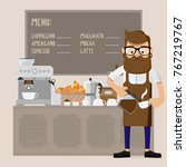 caucasian friendly barista... | Shutterstock .eps vector #767219767