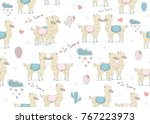 cute seamless pattern with hand ... | Shutterstock .eps vector #767223973