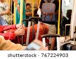 close up old traveler hand... | Shutterstock . vector #767224903