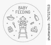 baby feeding vector concept... | Shutterstock .eps vector #767227513