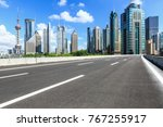 asphalt road and modern city... | Shutterstock . vector #767255917