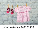 baby pink dress and red shoes... | Shutterstock . vector #767262457
