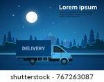 cargo truck van on road at... | Shutterstock .eps vector #767263087