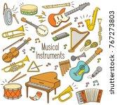 set of hand drawn doodle... | Shutterstock .eps vector #767273803