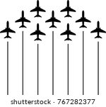 airplane flying formation  air... | Shutterstock .eps vector #767282377