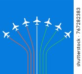airplane flying formation in... | Shutterstock .eps vector #767282383