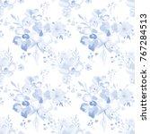 watercolor floral pattern. cute ... | Shutterstock .eps vector #767284513